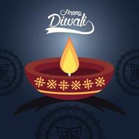 joyeuse fête de diwali avec bougie et mandalas en fond bleu vecteur
