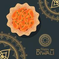joyeuse fête de diwali avec de la nourriture et des mandalas dorés vecteur