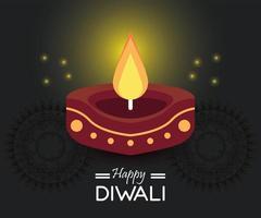 joyeuse fête de diwali avec bougie vecteur
