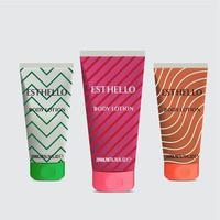 Étiquette de tubes cosmétiques, conception de modèle de paquet, conception d'étiquettes, modèle d'étiquette de conception de maquette cosmétique, vecteur