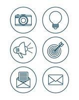 jeu d'icônes de réseau social vecteur