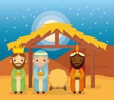 épiphanie de jésus avec des mages apportant des cadeaux vecteur