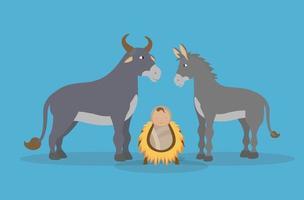 épiphanie de Jésus, des animaux et du bébé christ vecteur