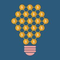 forme d'ampoule avec des pièces d'or, design plat concept finance