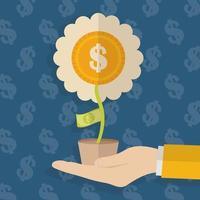 main avec fleur en pot, argent et finance design plat concept