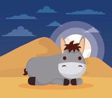 épiphanie de jésus avec un âne mignon vecteur