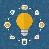 crypto-monnaie et argent, design plat concept finance vecteur
