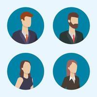 personnages de gens daffaires autour des icônes avatar vecteur