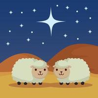 épiphanie de jésus avec des moutons sute vecteur