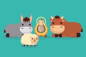 épiphanie de jésus avec les animaux de la ferme vecteur