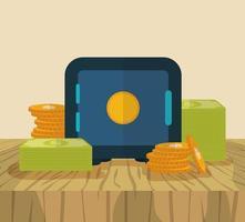 coffre-fort et argent, design plat concept finance