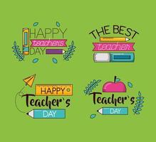 ensemble de conception de célébration de la journée des enseignants heureux