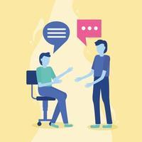 hommes parlant avec bulle de dialogue
