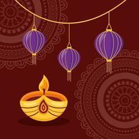 design plat affiche joyeux festival diwali