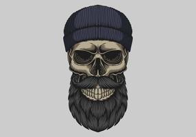 crâne barbu moustache tête illustration vectorielle vecteur