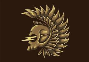 illustration vectorielle de crâne aile tonnerre