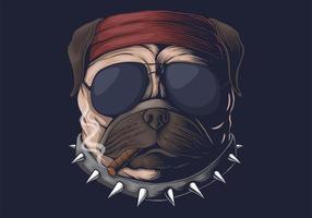 illustration vectorielle de carlin chien tête fumée vecteur