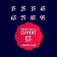 offre spéciale de réduction jusqu'à 55% illustration de conception de modèle de vecteur étiquette à durée limitée