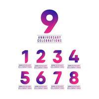 9 ans anniversaire célébrations vector illustration de conception de modèle