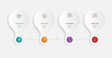 infographie horizontale abstraite 4 étapes pour les affaires et la présentation