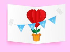 fleur en forme de coeur pour carte de voeux Saint Valentin, artisanat en papier