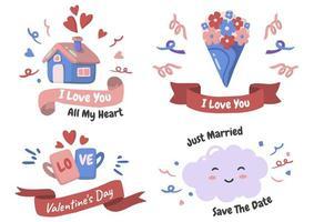 ensemble de logo vectoriel étiquette Saint-Valentin