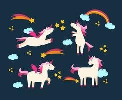 Licornes dans le vecteur de ciel