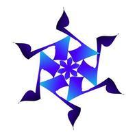 beau symbole d'étoile de neige de couleur bleue