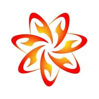 style de gravure spirographe couleur orange fleur étoile créative