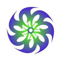 symbole créatif de transition spirale spirographe en couleur bleu vert