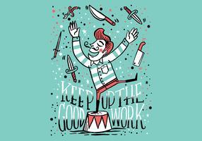 couteau jongleur gars vecteur
