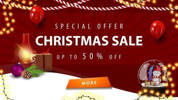 offre spéciale, vente de Noël, jusqu'à 50 de réduction, bannière de réduction rouge pour la page d'accueil de votre site Web avec lampe ancienne et boule à neige