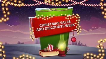 vente de Noël et semaine de remise, bannière verticale pour votre créativité en style cartoon avec lampe antique, livre de Noël, boule de Noël et cône bannière de réduction avec beau paysage d'hiver sur le fond
