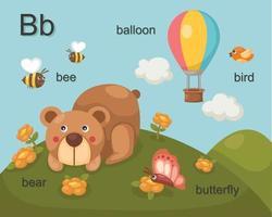 alphabet b lettre abeille, ours, ballon, oiseau, papillon