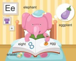 alphabet e lettre gomme, huit, oeuf, aubergine, éléphant.