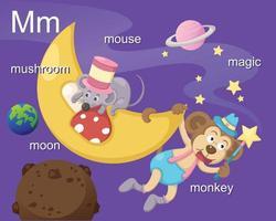 alphabet.m lettre champignon, lune, souris, magie, singe