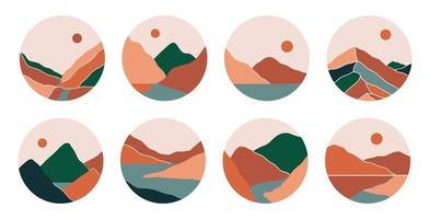 couvertures de points forts des médias sociaux boho avec montagnes, rivière, mer