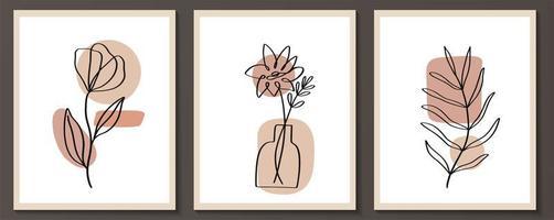 ensemble de fleurs dessin au trait continu avec forme abstraite