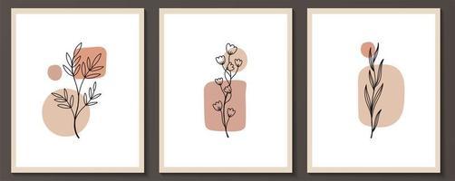 ensemble de fleurs dessin au trait continu
