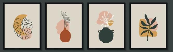 ensemble de fleurs dessin au trait continu. collage contemporain abstrait de formes géométriques dans un style branché moderne. vecteur pour le concept de beauté, impression de t-shirt, carte postale, affiche