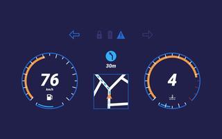 Vecteurs d'interface utilisateur unique de tableau de bord de voiture vecteur