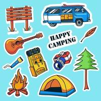 collection d'autocollants de camping colorés dessinés à la main vecteur