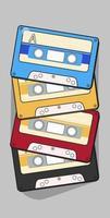 cassette audio vecteur isolé vieux lecteur rétro de musique. cassette audio de musique rétro des années 80 mélange vierge.