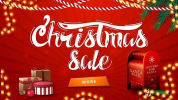 vente de noël, bannière de remise rouge avec guirlandes, branches d'arbre de noël, bouton, cadeaux et boîte aux lettres du père noël