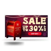 Bannière de réduction 3d violet de Noël avec boîte aux lettres du père Noël avec des cadeaux isolé sur fond blanc