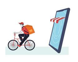 homme avec masque sur vélo livrant une commande en ligne vecteur