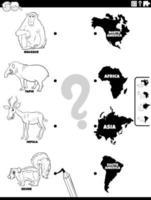 match des espèces animales et des continents page du livre de couleurs vecteur