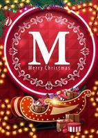 Joyeux Noël, carte postale rouge avec anneau au néon, logo cercle avec cadre rond vintage, guirlandes, arbre de Noël et traîneau du père Noël avec des cadeaux