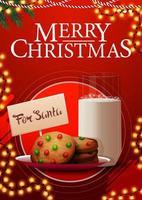 Carte postale de Noël rouge avec guirlande et biscuits avec un verre de lait pour le père Noël