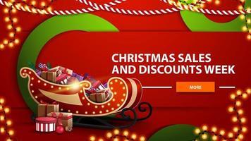 Ventes de Noël et semaine de remise, bannière web moderne horizontal lumineux rouge avec bouton, grands cercles verts et traîneau du père Noël avec des cadeaux vecteur